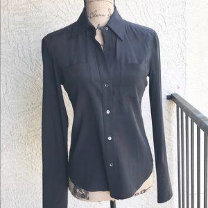 BCBGMaxAzria Black Silk/Spandex Button-Up Blouse